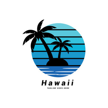 Creative hawaii beach logo and t shirt design Vector.
