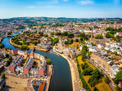 Aerial view of Exeter in summer day