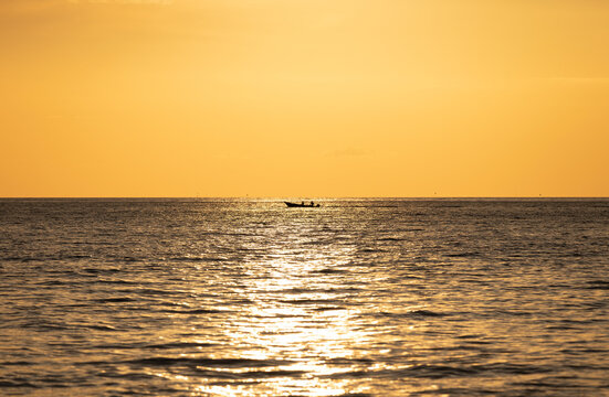 Yellow sea and sky sunset background. Koh Chang, Trat, Thailand, Asia