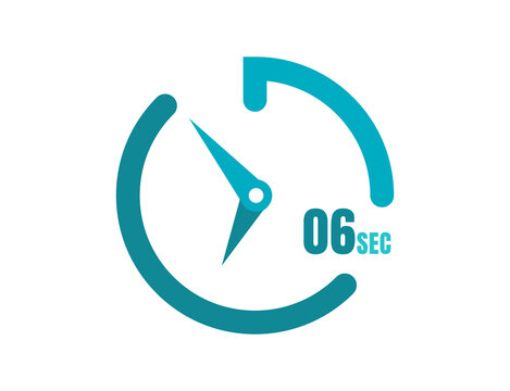 Timer 6 sec Simple icon design, 6 second timer clocks. 6 sec stopwatch icons