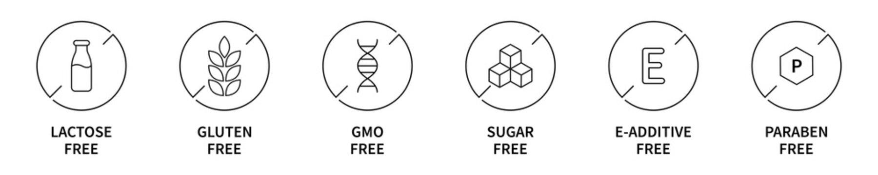 Gluten gmo lactose paraben sugar e-additive free icon set. Vector allergy free product symbol collection.