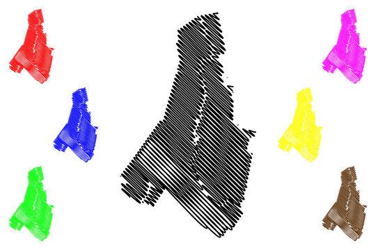 Androscoggin County, Maine (U.S. county, United States of America, USA, U.S., US) map vector illustration, scribble sketch Androscoggin Parish map
