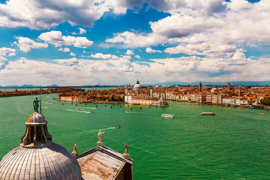 The view of the Venetian lagoon and Venice from the bell tower of the Cathedral of San Giorgio Maggiore, Italy