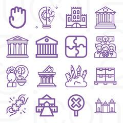Obraz 16 pack of heritage  lineal web icons set - fototapety do salonu