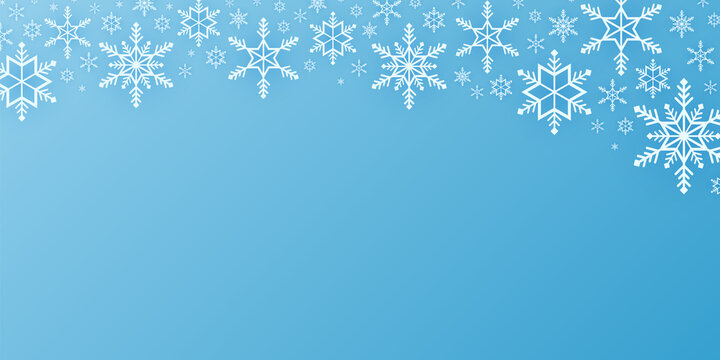Merry Christmas, snowflakes pattern background, snow falling banner, copy space, paper art style