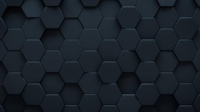 Futuristic, High Tech, dark background, with a hexagonal cellular structure. Wall texture with a 3D hexagon tile pattern. 3D render
