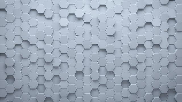 Futuristic, High Tech, light background, with a hexagonal cellular structure. Wall texture with a 3D hexagon tile pattern. 3D render