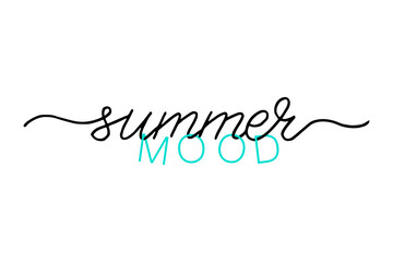 Summer mood handwritten text. Simple positive lettering typography script quote. Hand drawn modern calligraphy slogan text - morning vibes. Poster, card, banner, t-shirt, vector design banner.