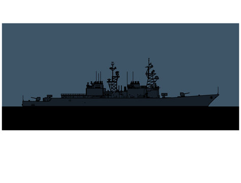 US Navy Spruance-class destroyer. Vector image for illustrations and infographics.