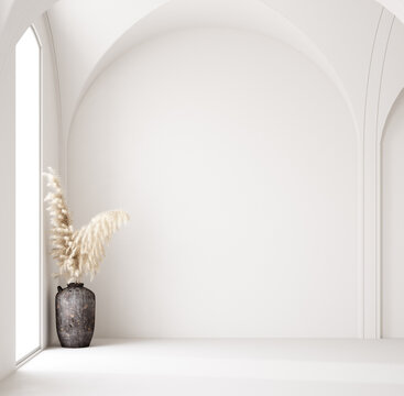 Contemporary  empty home interior, Scandi-Boho style, 3d render