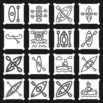 16 pack of kayak  lineal web icons set