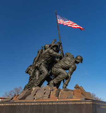 Washington D.C., United States of America - April 1, 2019: A picture of the US Marine Corps War Memorial (Iwo Jima).