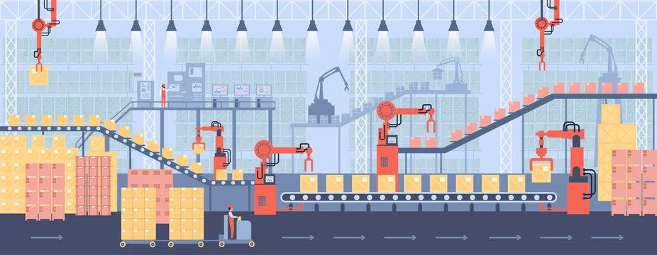 Controlling conveyor belt line, robotic hands, factory automation production, manufacturing process. Concept warehouse storage interior horizontal