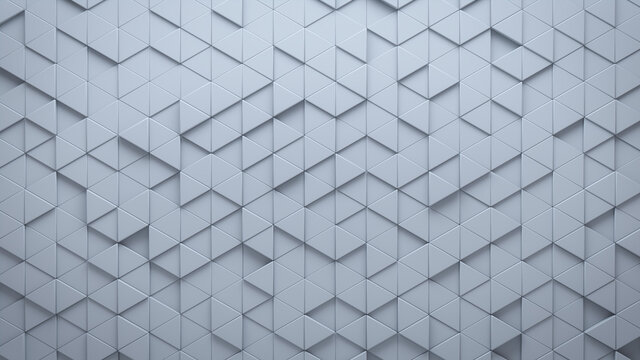 Futuristic, High Tech, light background, with a triangular block structure. Wall texture with a 3D triangle tile pattern. 3D render