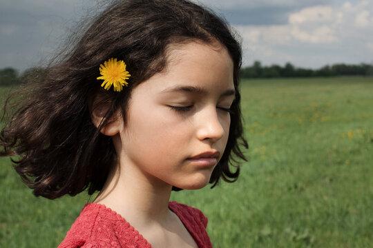 Portrait of girl in a field