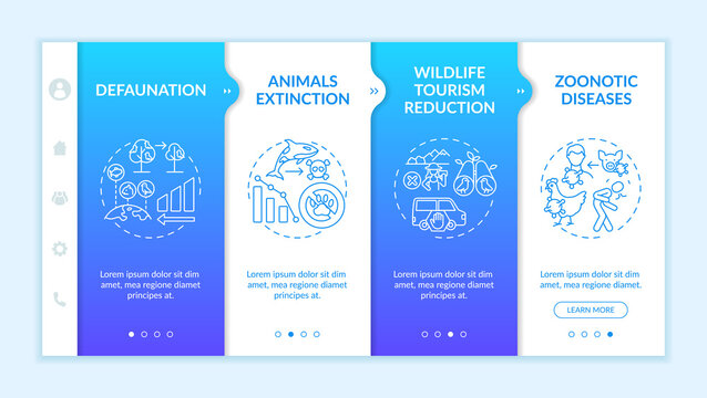 Environmental damage onboarding vector template. Defaunation. Wildlife tourism reduction. Zoonotic disease. Responsive mobile website with icons. Webpage walkthrough step screens. RGB color concept
