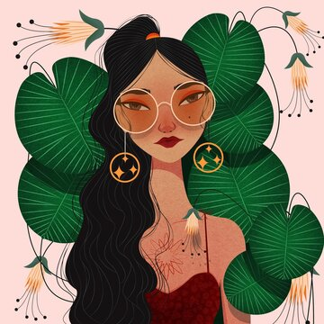 Illustration of stylish woman with leafs and flowers
