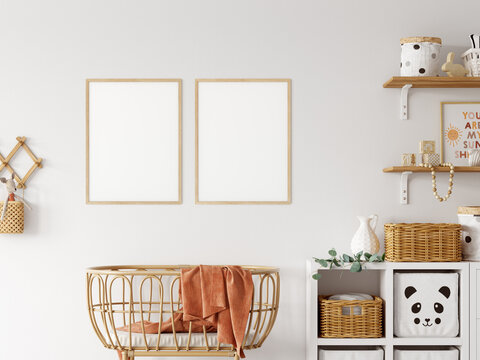 Frame mockup in child room interior. Nursery Interior in scandinavian style. 3d rendering, 3d illustration