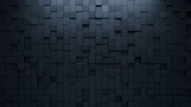 Futuristic, High Tech, dark background, with a square block structure. Wall texture with a 3D cube tile pattern. 3D render