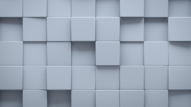 Futuristic, High Tech, light background, with a square block structure. Wall texture with a 3D cube tile pattern. 3D render