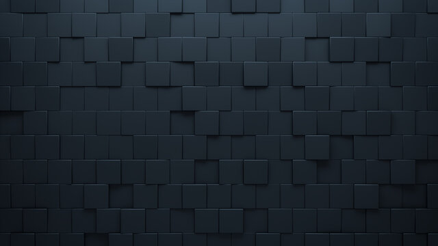Futuristic, High Tech, dark background, with an offset square block structure. Wall texture with a 3D cube tile pattern. 3D render
