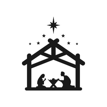 Jesus Christ was born symbol. Merry Christmas. Mary and Joseph bowed to the newborn Savior in a stable. Vector EPS 10