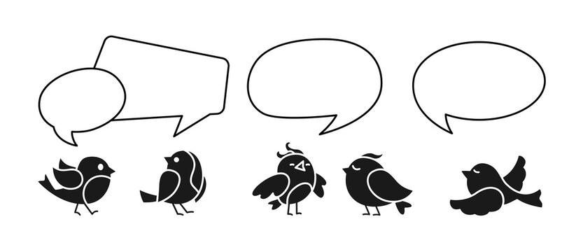 Birds communicating with dialog speech bubble set. Black bird, discount offer line bubble. Empty comic design elements, chat banner, page template. Promotion sale notification vector illustration