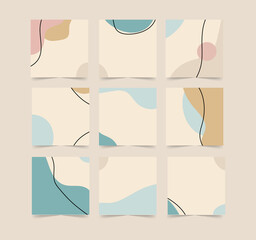 Wall Mural - Illustration for social media post background template in grid puzzle style
