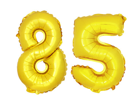 Golden balloons on isolated white background, number 85