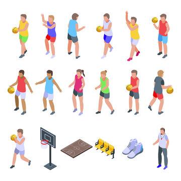 Kids playing basketball icons set. Isometric set of kids playing basketball vector icons for web design isolated on white background