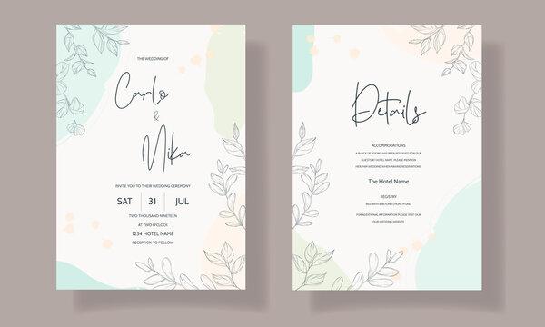 Beautiful and elegant wedding invitation floral