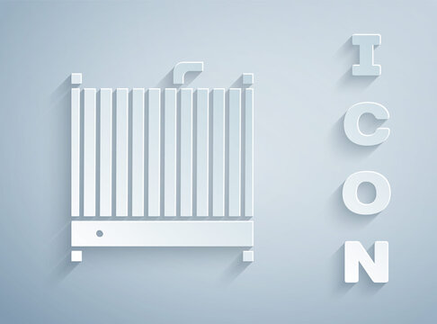 Paper cut Car radiator cooling system icon isolated on grey background. Paper art style. Vector Illustration.