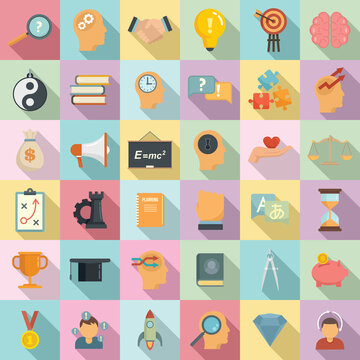 Life skills icons set. Flat set of life skills vector icons for web design