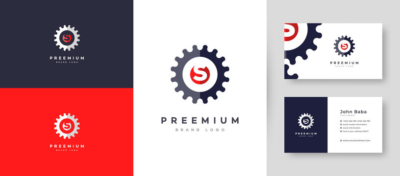Servicing Initial Letter S Logo With Premium Business Card Design Vector Template for Your Company Business
