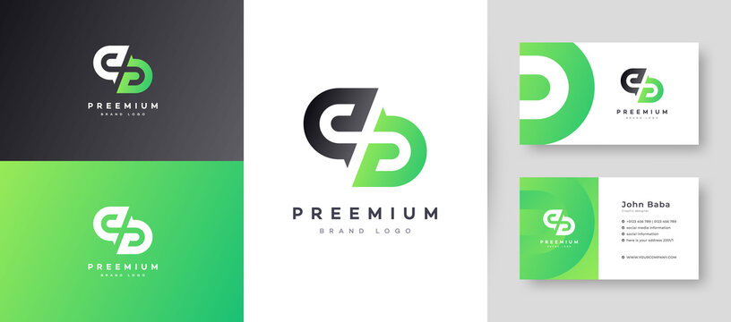 Flat Minimal Initial D, DD Letter Logo With Premium Business Card Design Vector Template for Your Company Business