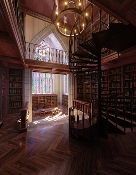 A gothic fantasy library with big table, chairs and bookshelves filled with books.