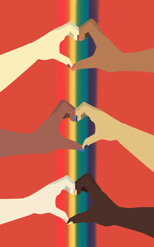 LGBT flag hand with hearts