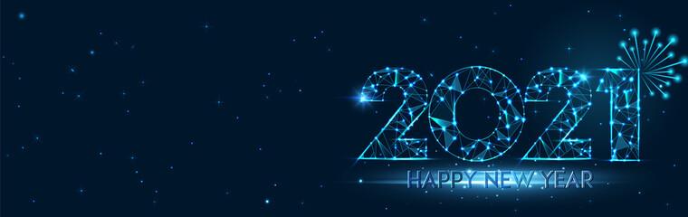 Fototapeta Happy new year 2021 banner design. 2021 Happy new year greeting horizontal poster. Geometric futuristic polygonal 2021 new year greeting card. Vector firecracker background. Low polygon.