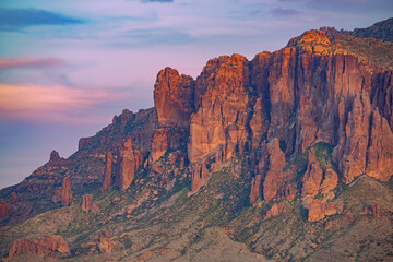 Landscape at sunset of the Superstition Mountains, Arizona, USA