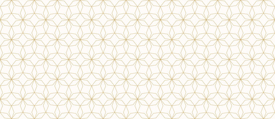 Abstract geometric seamless pattern in Arabian style. Golden lines texture, elegant floral lattice, mesh, weave. Oriental traditional luxury background. Subtle gold ornament. Vector modern design
