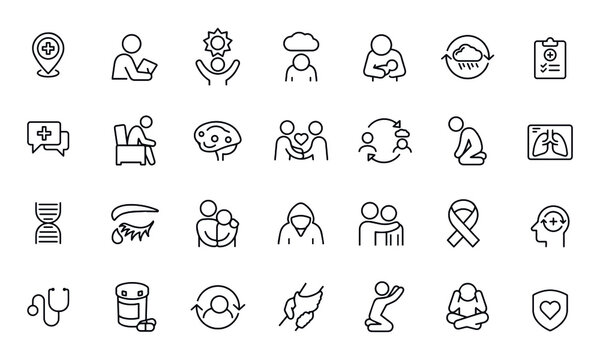 Mental Illness Thin Line Icons