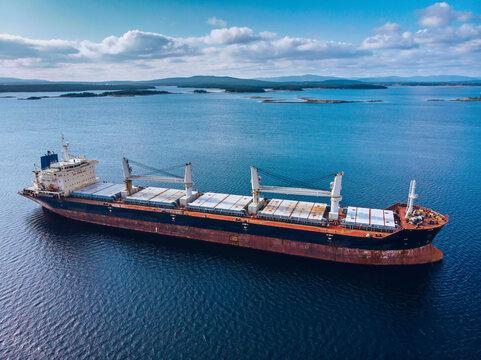 Big Bulk Carrier Ship in White Sea
