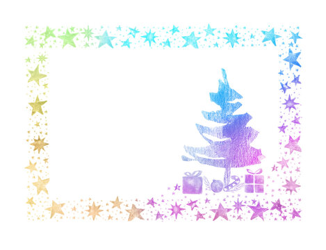Watercolor Paint stars Christmas Ornaments Card Frame with Rainbow Colorful colors and pine, handmade painting bush