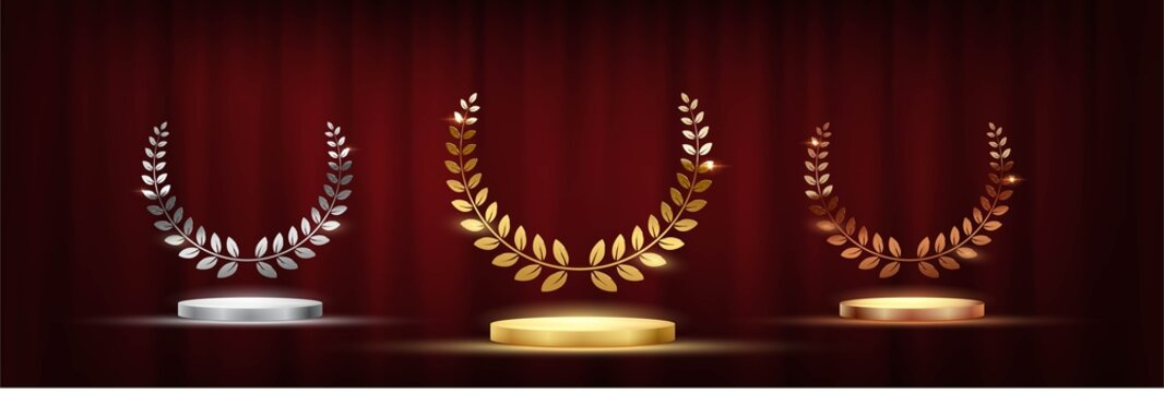 Golden, silver and bronze award signs with podiums laurel wreath isolated on red curtain background. Vector award design templates.