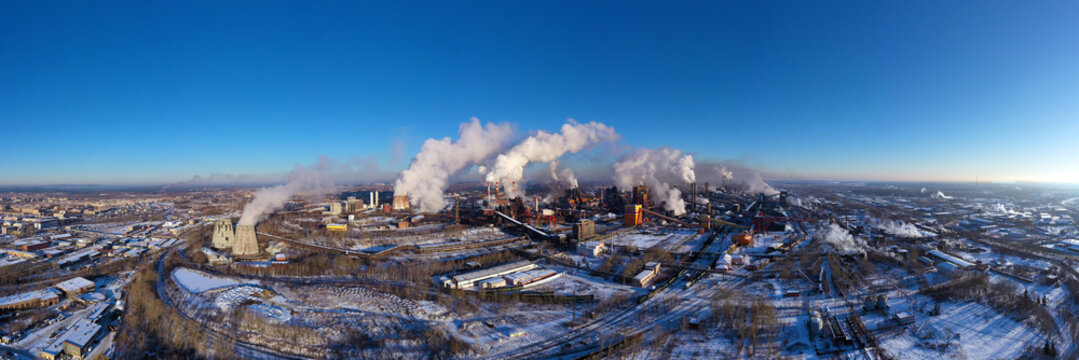 Panorama of metallurgical plant and an industrial zone. View from above