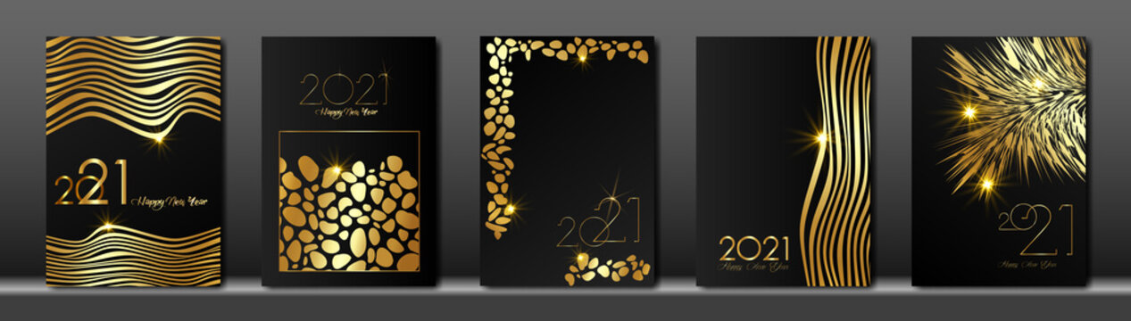 set cards 2021 Happy New Year, Gold Africa animal texture, black modern background, elements for calendar and greetings card or Christmas themed winter holiday invitations with geometric decorations