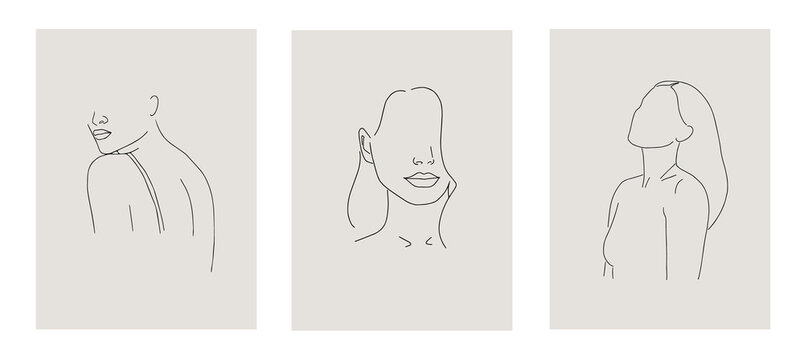 Set of minimalistic female figure. Linear female body. Modern abstract line art style. Vector illustration.