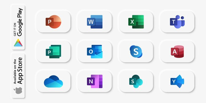 Vector illustration of 3D buttons of Microsoft Office applications. Neumorphism style. For editorial use.