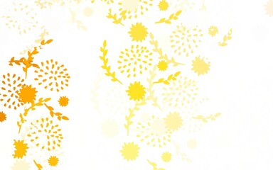 Light Orange vector doodle texture with flowers