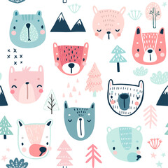 Wall Mural - Seamless pattern with Cute Bears. Childish Background with sweet characters and other elements.